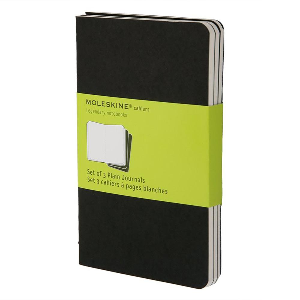 Набор 3 блокнота Moleskine Cahier Journal Pocket, цвет черный, без разлиновки