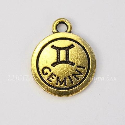 """Подвеска TierraCast знак зодиака """"Близнецы"""" (цвет-античное золото) 19х15 мм"""