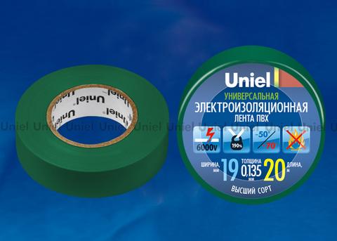UIT-135P 20/19/01 GRN Изоляционная лента Uniel 20м, 19мм, 0,135мм, 1шт, цвет Зеленый