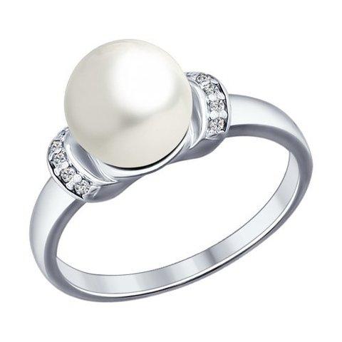 Кольцо из серебра с жемчугом и фианитами арт.94012031