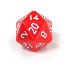 Красный двадцатигранный кубик (d20) для ролевых и настольных игр