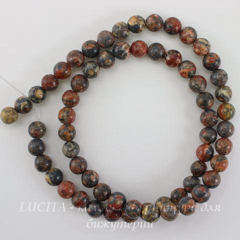 Бусина Яшма Шкура леопарда красная (прессов), шарик, 6 мм, нить
