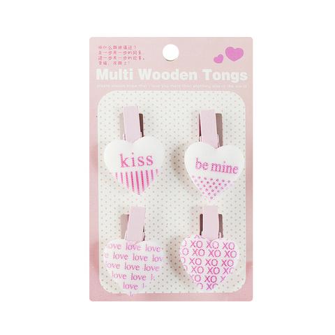 Набор деревянных прищепок Kiss Pink