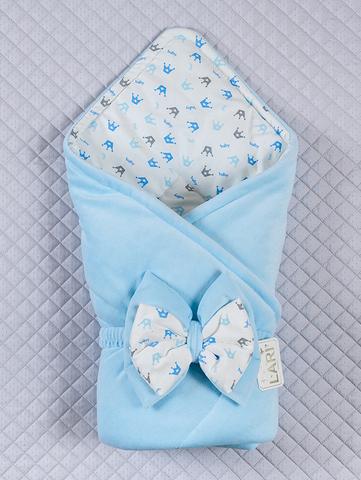 Велюровый конверт одеяло Короны (голубой)