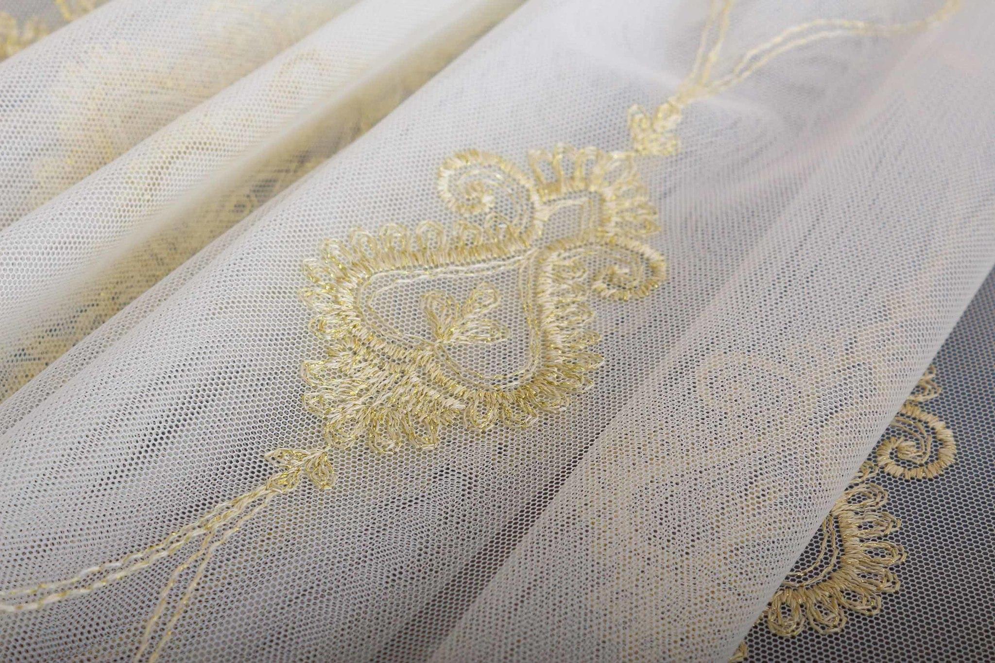 Микросетка с вышивкой Флоренция-2 (Золото)