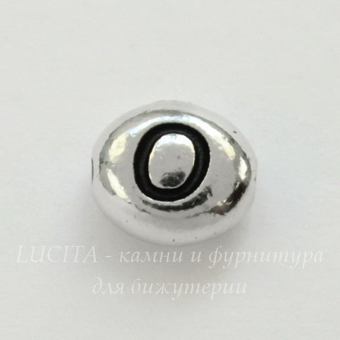 "Бусина овальная TierraCast ""Буква O"" 7х6х3 мм (цвет-античное серебро)"