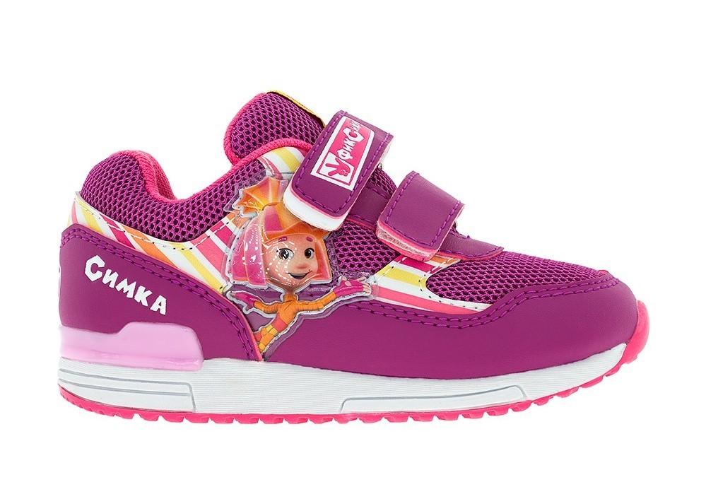 Кроссовки для девочек на липучках Фиксики, цвет сиреневый