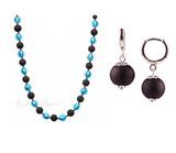 Комплект Domino голубой с черными серьгами