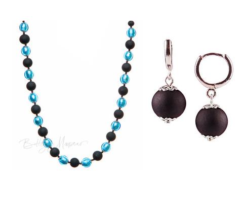 Комплект Domino Perla Matt голубой с черными серьгами