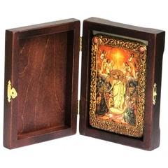 Инкрустированная Икона Воскресение Христово - Пасха 15х10см на натуральном дереве, в подарочной коробке