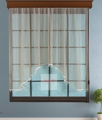 Короткий тюль-арка со стеклярусами. Клайм (коричневый)