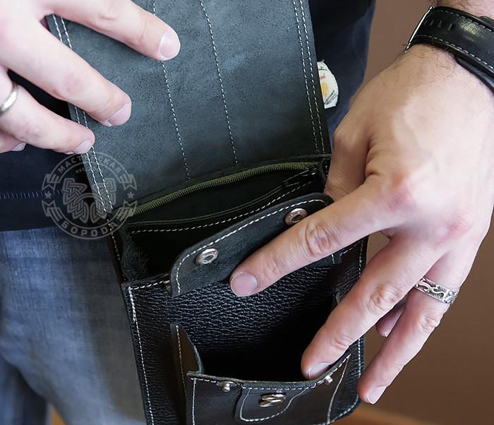 BAG379-1 Мужская сумка на пояс из натуральной кожи, ручная работа фото 11