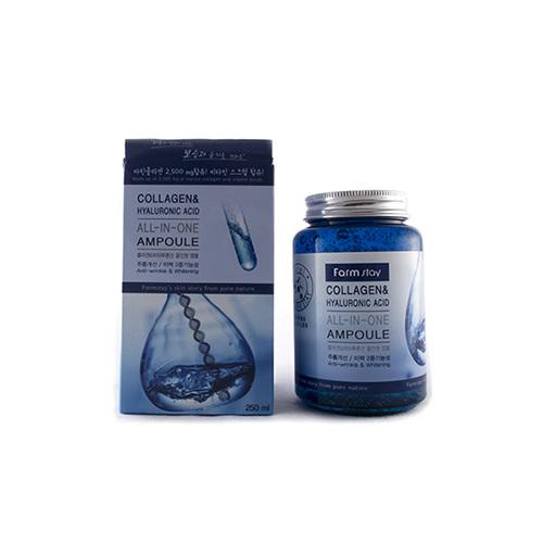 Средство многофункциональное ампульное с гиалуроновой кислотой и коллагеном FarmStay Collagen&Hyaluronic Acid All-in-one Ampoule 250мл