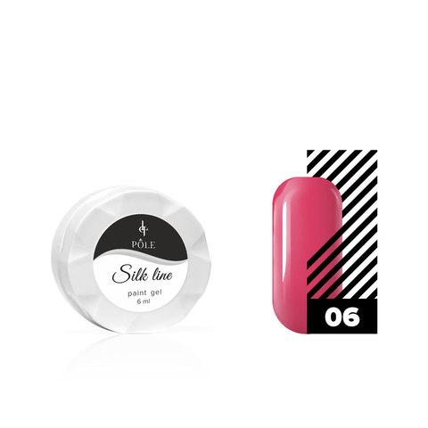 Гель-краска для тонких линий POLE Silk line №06 малиновая (6 мл.)