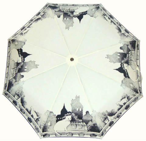 Купить онлайн Зонт складной Guy de Jean Chat blanc в магазине Зонтофф.