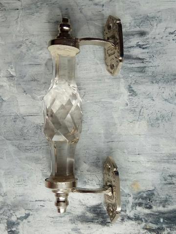 Дверная ручка из прозрачного стекла, хром