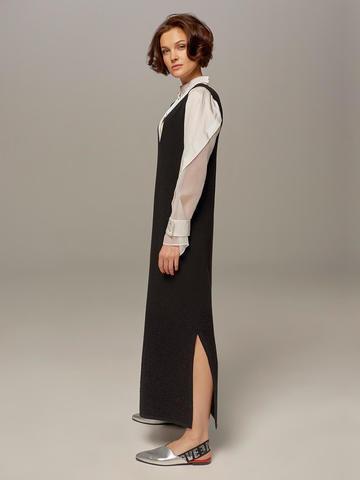 Женское шерстяное платье черного цвета без рукавов - фото 2