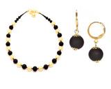 Комплект Domino Perla Matt золотистый с черными серьгами