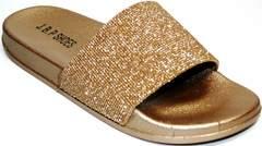 Красивые шлепанцы J.B.P. Shoes NU25 Gold.