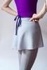 Юбка на запах cерая с контрастным фиолетовым поясом | 2 длины