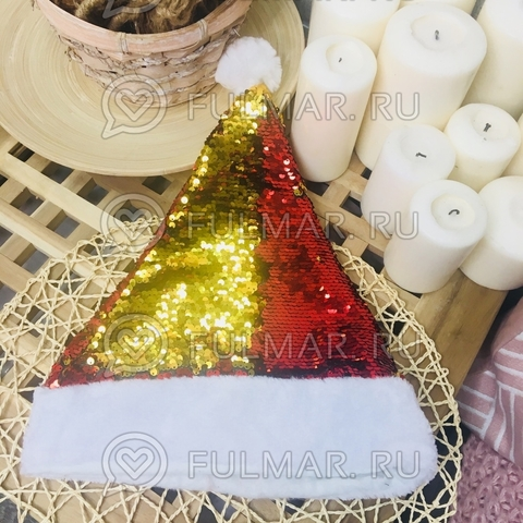 Новогодний колпак-шапка с пайетками меняет цвет Красный-Золотистый