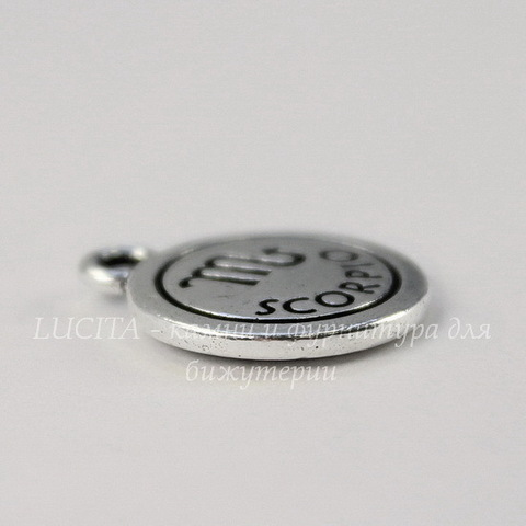 "Подвеска TierraCast знак зодиака ""Скорпион"" (цвет-античное серебро) 19х15 мм"