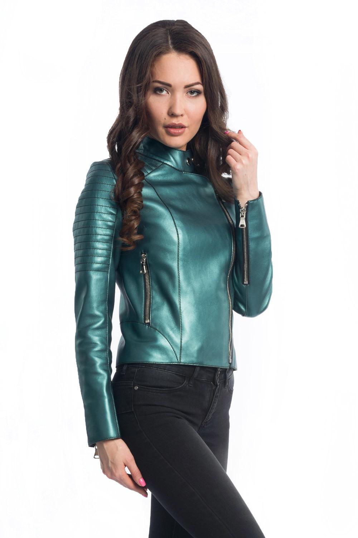 Куртка-косуха из натуральной кожи зеленый электрик