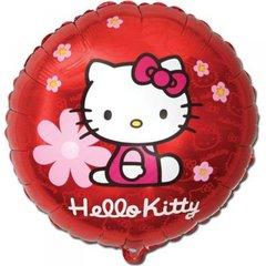 Фольгированный шар Hello Kitty в цветочках