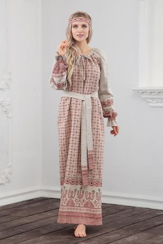 Платье Берегиня на небеленом льне в славянском интернет-магазине Иванка