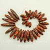 Бусина Яшма Императорская (прессов.,тониров), продолговатая, цвет - оранжевый, 18-40 мм, нить
