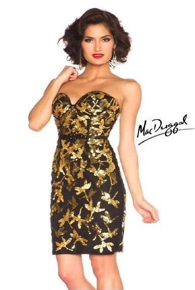 Mac Duggal 85298R платье: коктейльное, легкое, игривое платье, расшитое золотыми пайетками,
