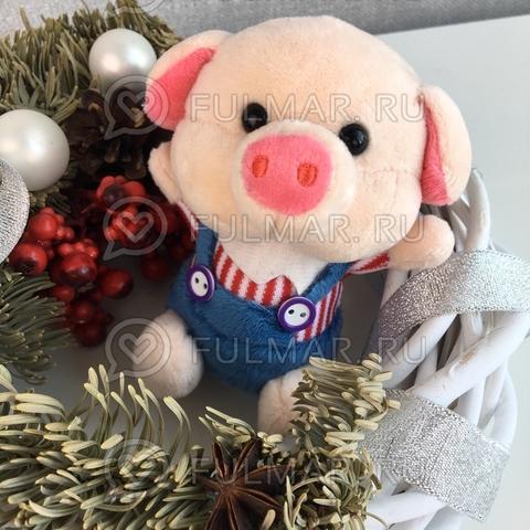 Поросёнок брелок Мистер Хрю символ 2019 года свинья (красный-синий)