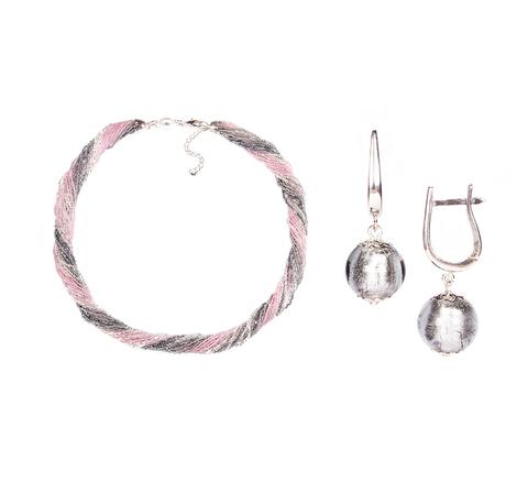 Комплект украшений серо-розовый №2 (серьги-бусины, ожерелье из бисера 24 нити)
