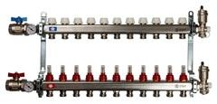 Коллектор Stout на 11 контуров с расходомерами для тёплого пола из нержавеющей стали в сборе SMS-0907-000011