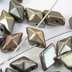 Бусина DiamonDuo Ромб с 2 отверстиями, 8х5 мм, золотисто-серая матовая
