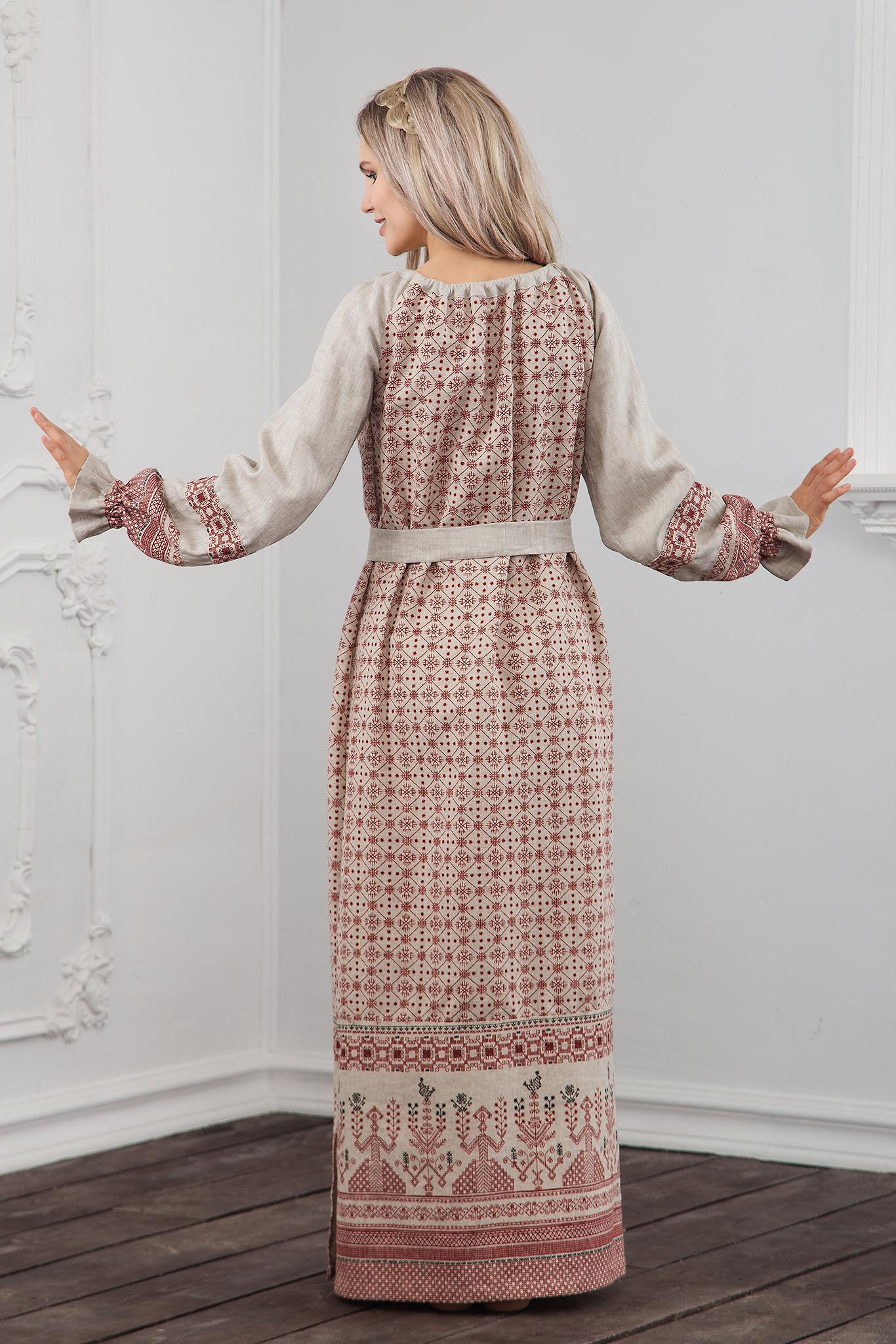 Платье Берегиня на небеленом льне вид сзади