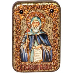 Инкрустированная Икона Преподобный Антоний Великий 15х10см на натуральном дереве, в подарочной коробке