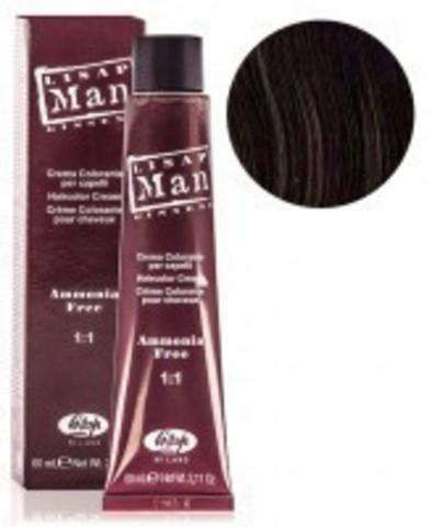 Оттенок 4 каштановый Безаммиачный профессиональный крем-краситель для мужчин Lisap Man Color 60мл