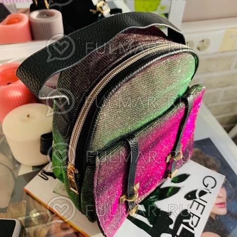 Рюкзак сияющий переливающийся Фиолетовый-Серый-Малиновый-Салатовый маленький