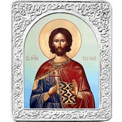 Святой Евгений. Маленькая икона в серебряной раме.