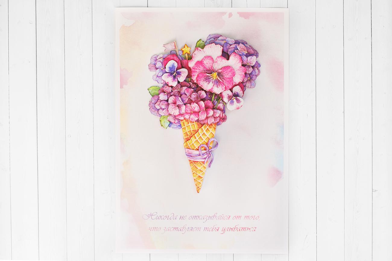Цветочный десерт - готовая работа, фронтальный вид