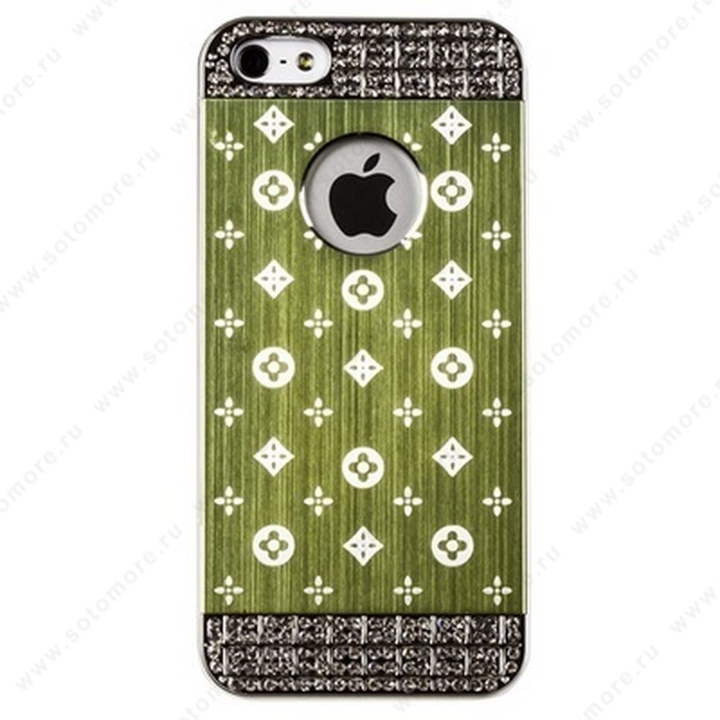 Накладка LV металлическая для iPhone SE/ 5s/ 5C/ 5 серебро зеленая
