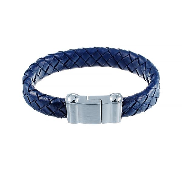 Кожаный синий браслет JV 232-0071