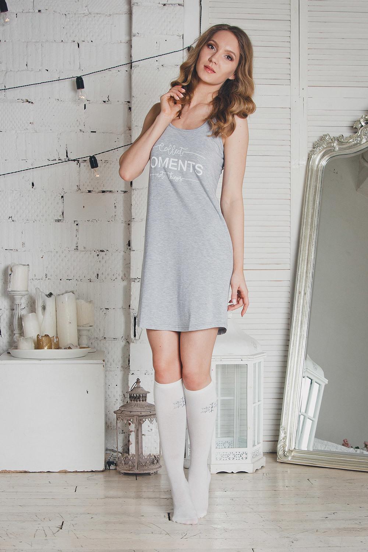 Серая сорочка женская для дома и отдыха без рукавов (Ночные сорочки)