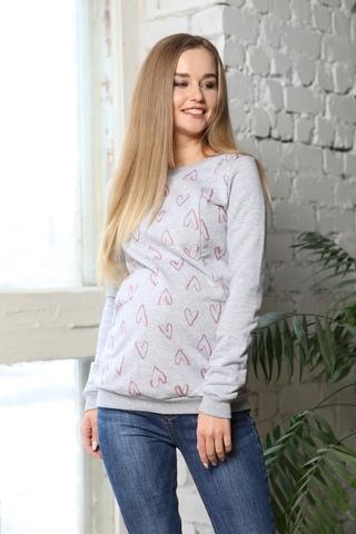 Джемпер для беременных и кормящих 10000 серый-розовый