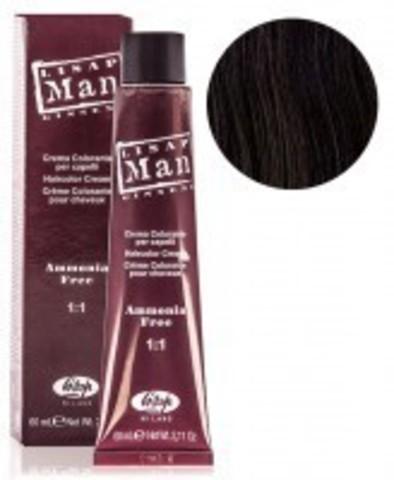 Оттенок 3 темно-каштановый Безаммиачный профессиональный крем-краситель для мужчин Lisap Man Color 60мл