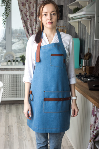 Women's Pale Blue Denim Apron