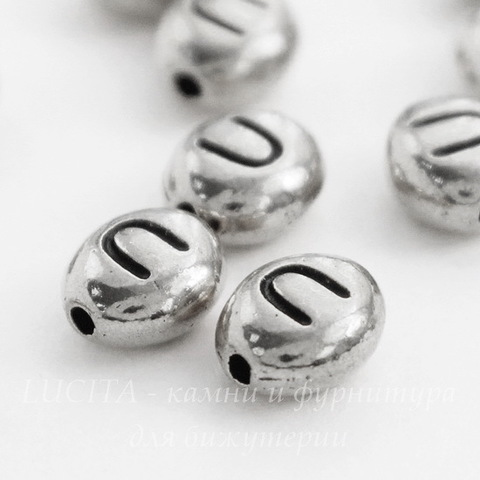 "Бусина овальная TierraCast ""Буква U"" 7х6х3 мм (цвет-античное серебро)"