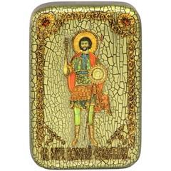 Инкрустированная Икона Святой мученик Валерий Севастийский 15х10см на натуральном дереве, в подарочной коробке