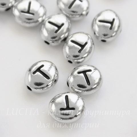"""Бусина овальная TierraCast """"Буква T"""" 7х6х3 мм (цвет-античное серебро)"""